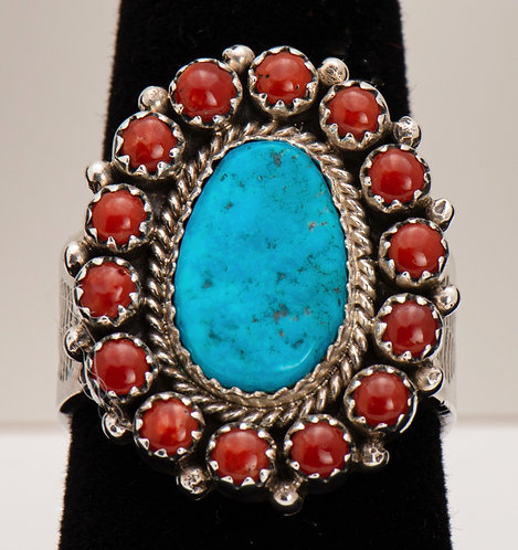 Turquoise and Red Coral Ring, 10