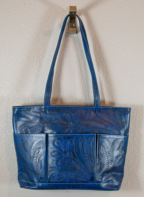 3 Pocket Leaders in Leather Hand Tooled Purse