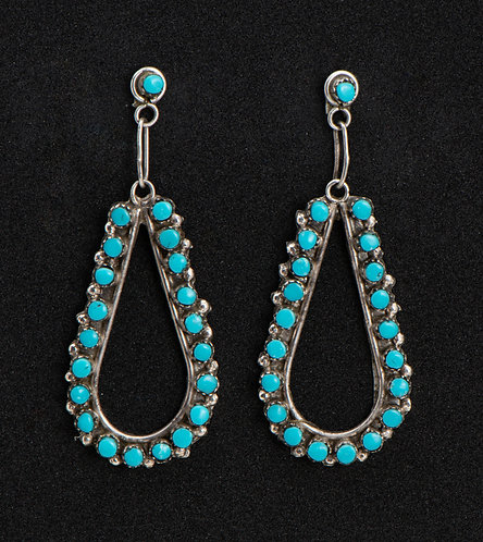 Camilio Martinez Native American Sterling Silver & Turquoise Earrings