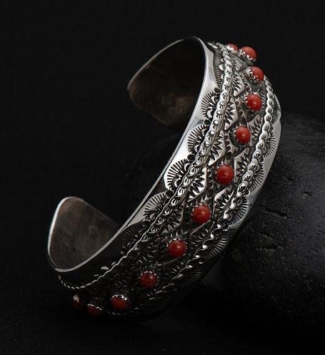 Red Coral & Sterling Silver Bracelet