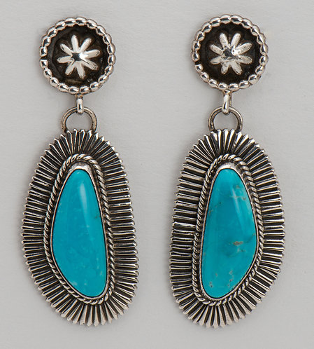 Sterling Silver Royston Turquoise Earrings