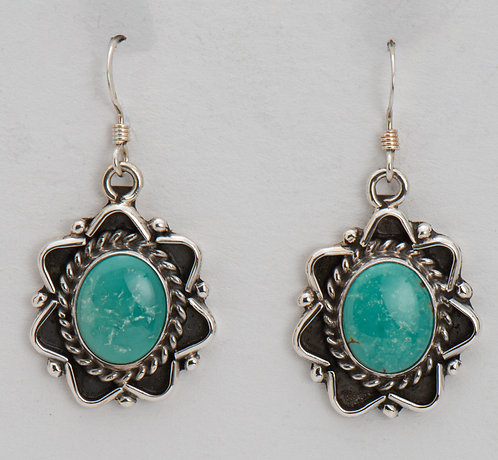 Native American Sterling Silver Carico Lake Turquoise Earrings