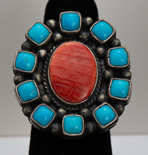 Turquoise and Spiny Oyster Ring, 7.5