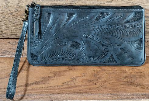 Tooled Leather Clutch - DarkGrey