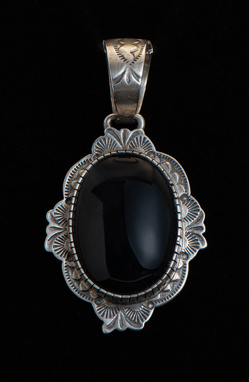 Native American Sterling Silver Black Onyx Pendant