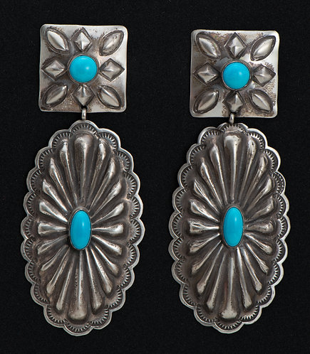 Rita Lee Native American Sterling Silver and Turquoise Earrings