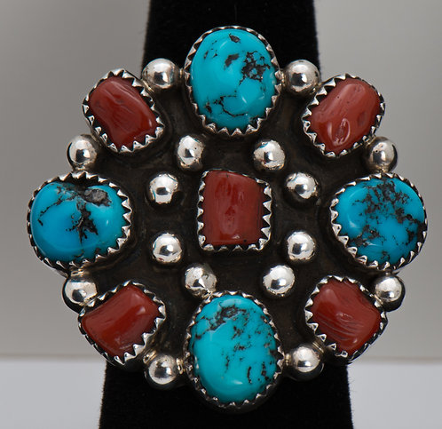 Turquoise & Coral Ring, 9