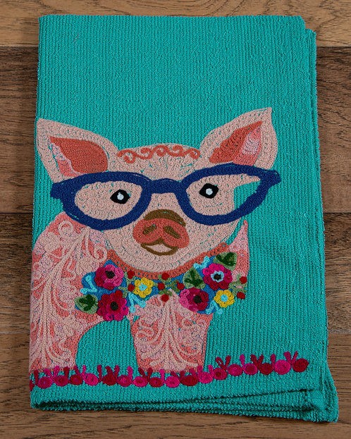 Pig Embroidered Hand Towel