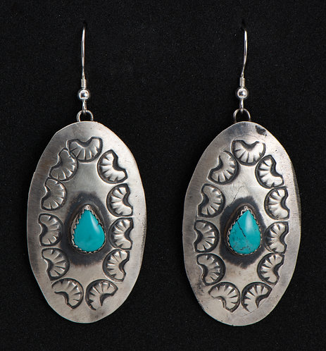 Shawn Cayatineto Native American Sterling Silver and Turquoise Earrings