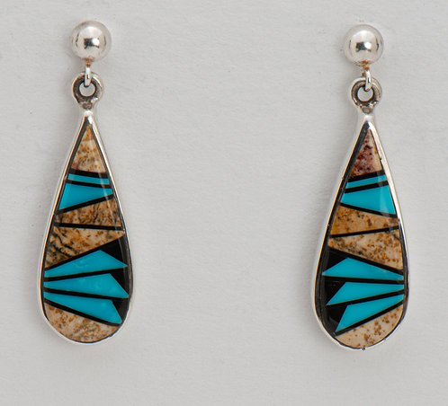 Native American Sterling Silver Inlaid Turquoise Earrings