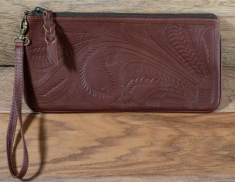 Tooled Leather Clutch - Cognac