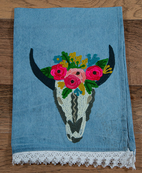Skull Embroidered Hand Towel