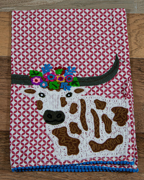 Longhorn Embroidered Hand Towel