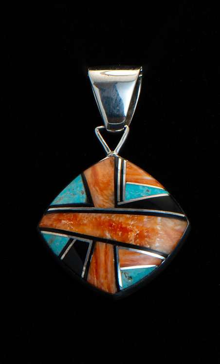 Native American Sterling Silver Turquoise & Spiny Oyster Pendant