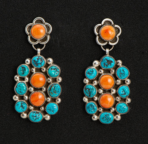 Leander Tahe Native American Sterling Silver, Turquoise & Spiny Oyster Earrings