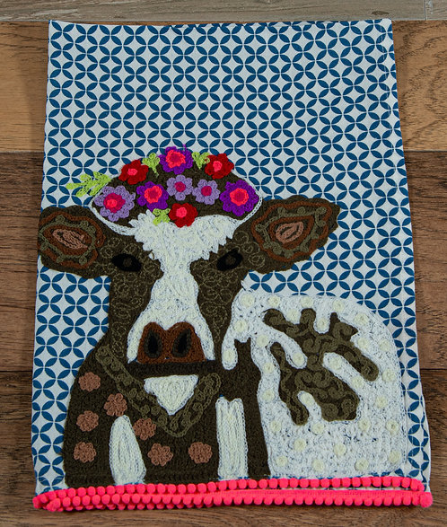 Floral Cow Embroidered Hand Towel