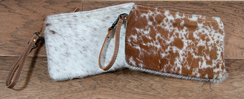 Myra Brown and White Cowhide Small Clutch