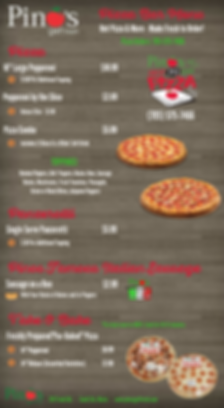 Pino's Pizza Menu