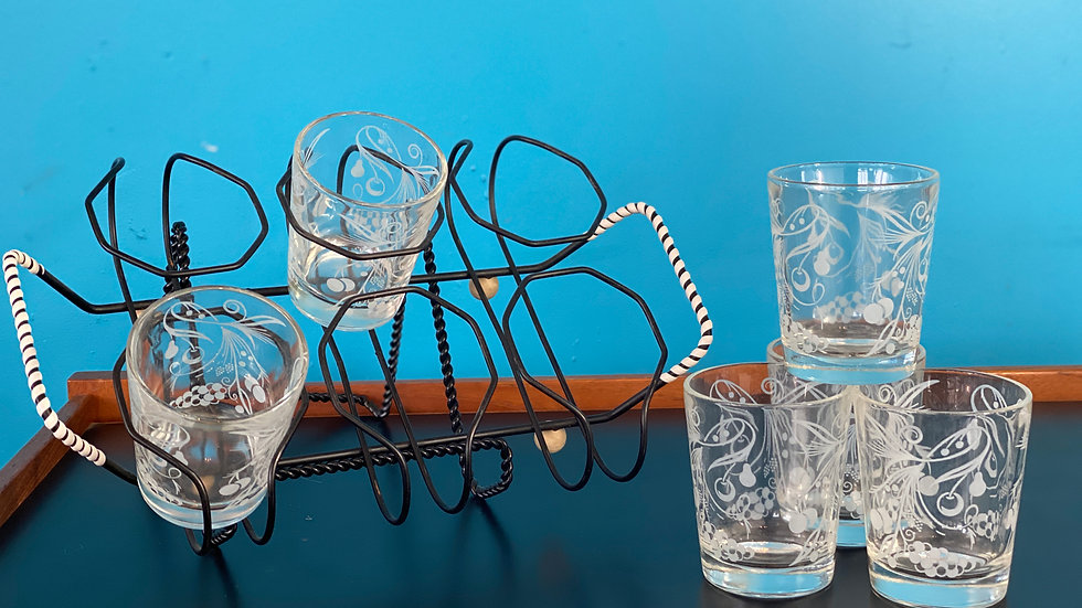 Vintage Fruit Motif Glasses with Caddy (6)
