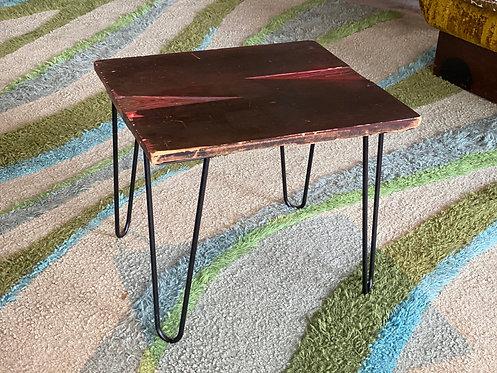 """Vintage Woodblock """"N"""" upcycled side table"""