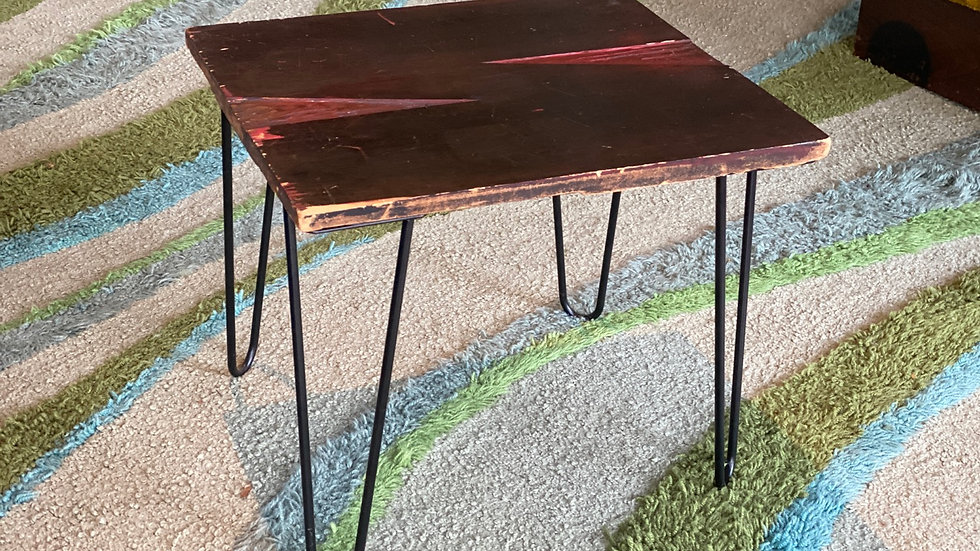 "Vintage Woodblock ""N"" upcycled side table"