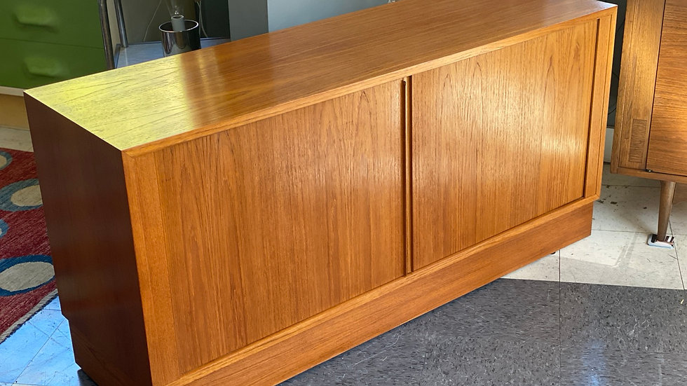 Danish media cabinet with tambour doors