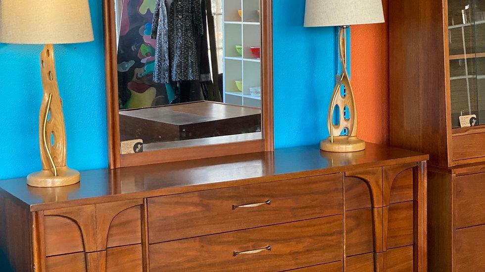 1960s Walnut sculpted dresser with Mirror