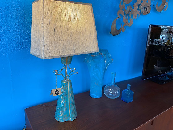 1950s Brass and Ceramic Table Lamp