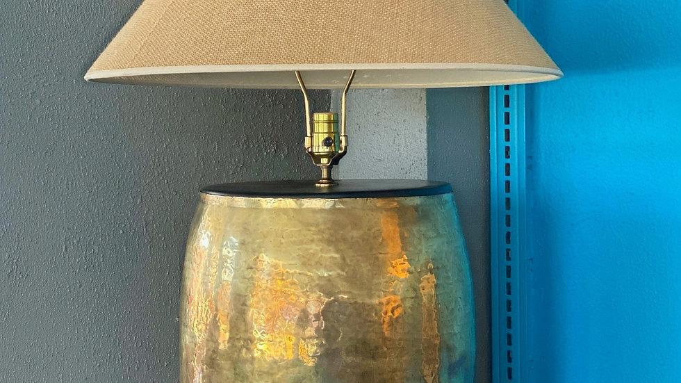 Vintage Hammered Brass Barrel Lamp