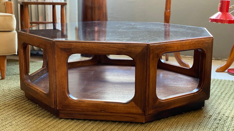 Midcentury glass coffee table by Lane
