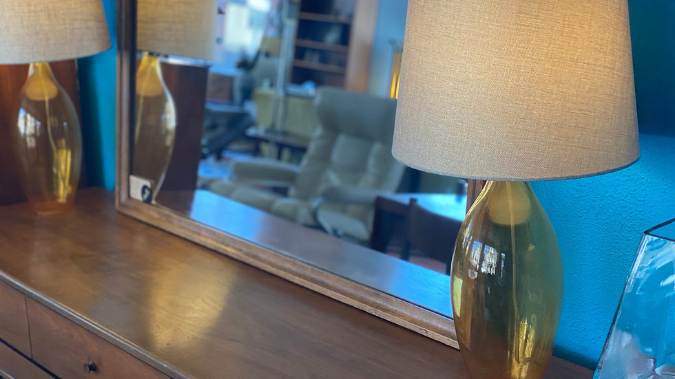 1970s Amber Glass Table Lamp