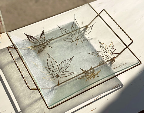 Gold and Glass Serving Plate by Westbrook