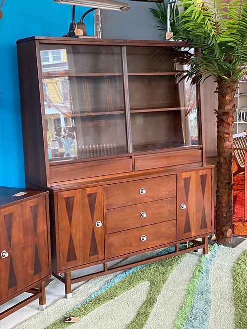 Rosewood and Walnut Hutch by Stanley