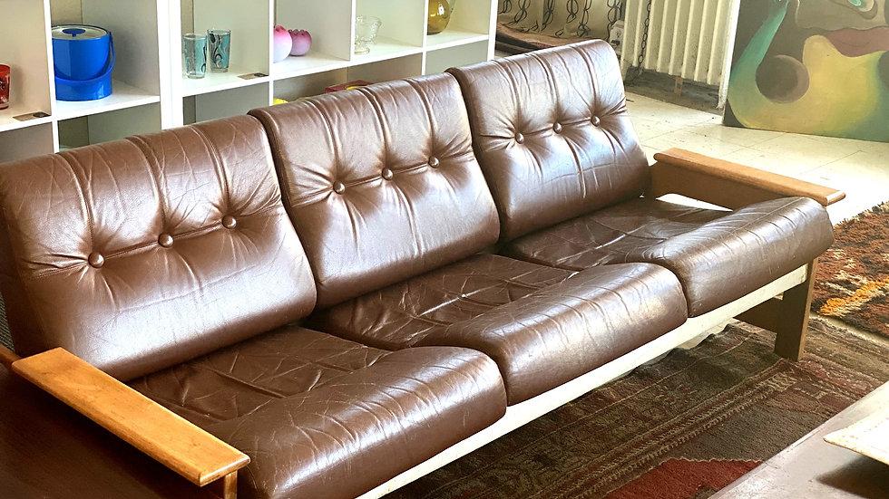 1970s Swedish Leather Sofa