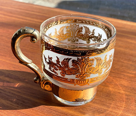 24k Gold Glass Mugs by Culver, 1950s (5)