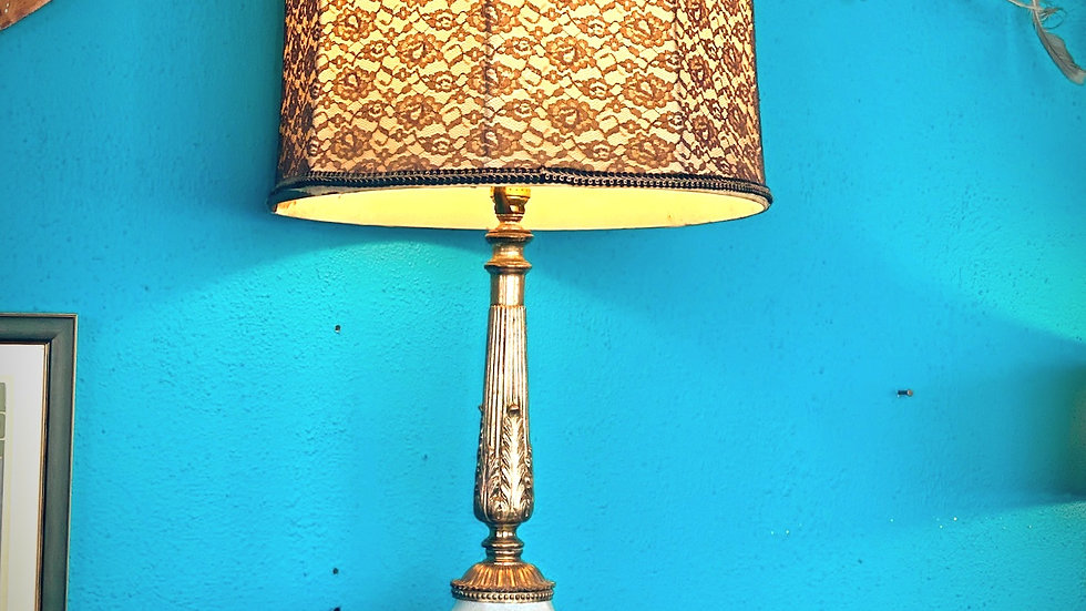 1940s Glass Hollywood Regency Lamp