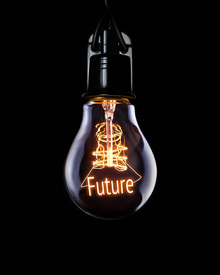 Hanging lightbulb with glowing Future co