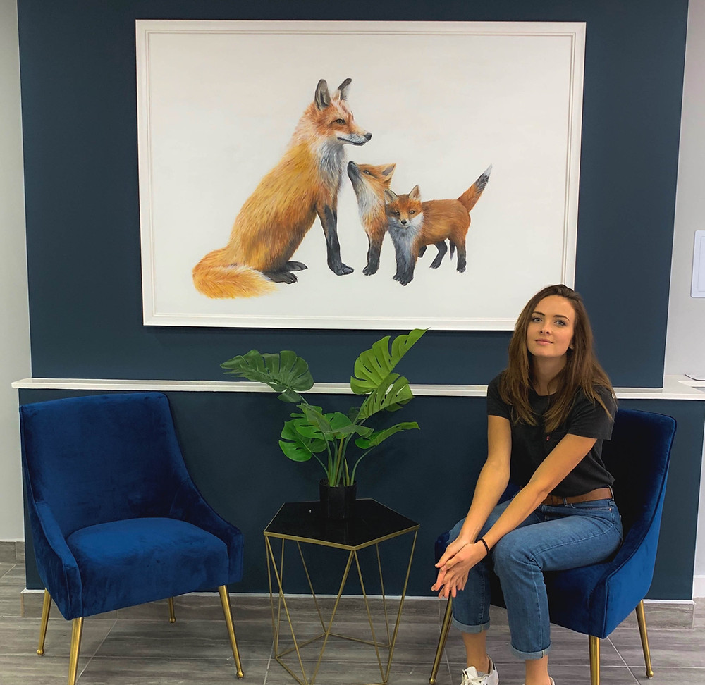 Sophie Green Fine Artist with Fox Painting