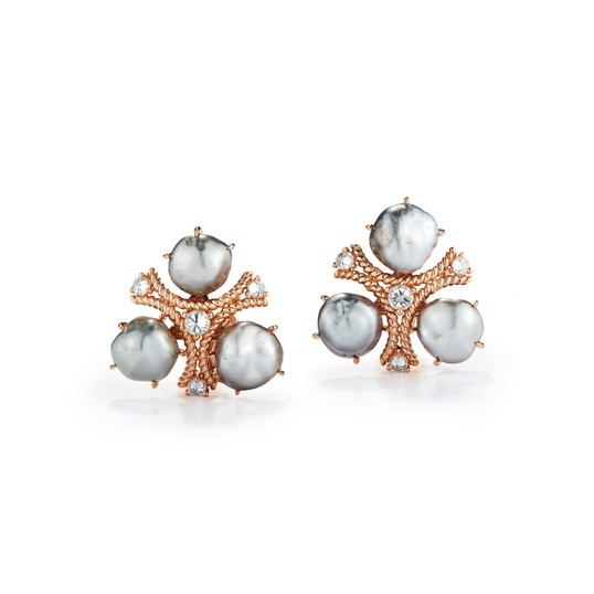 18k Rose Gold Trilogy Earrings with Grey Keshi Pearls and Diamonds (0.51 tcw)