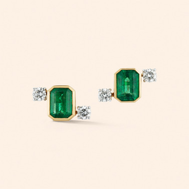 18k Yellow and White Gold Studs with Emeralds (2.66 tcw) and Diamonds (0.68 tcw)
