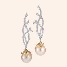 18k White Gold Fantaisie South Sea Pearl Drop Earrings with White Diamonds (1.31 tcw)