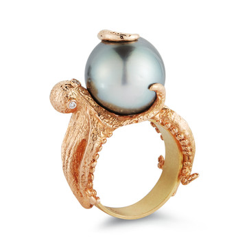 18k Rose Gold Octopus Ring with a Tahitian Pearl and White Diamonds (0.03 tcw)