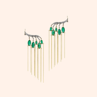 18k Blackened White and Yellow Gold Climbing Vine Earrings with Emeralds and White Diamonds (0.76 tcw)