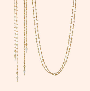 18k Yellow Gold Double Strand Necklace with Keishi Pearls and Diamonds (3.40 tcw)