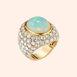 18k Yellow Gold Spirit Ring with Opal (11.70 twc) and Diamonds (5.95 tcw)
