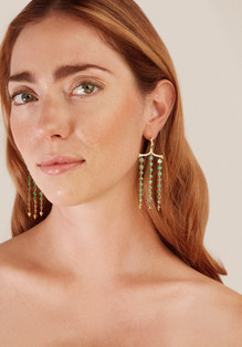 18k Yellow Gold Pagoda Earrings with Emeralds and White Diamonds (0.73 tcw)