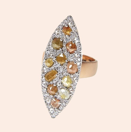 18k White and Yellow Gold Marquis Ring with Multi Color (2.82 tcw) and White Diamonds (1.04 tcw)
