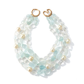 Raw Aquamarine (1009 tcw) and South Sea Pearl Necklace with 18k Yellow Gold Clasp