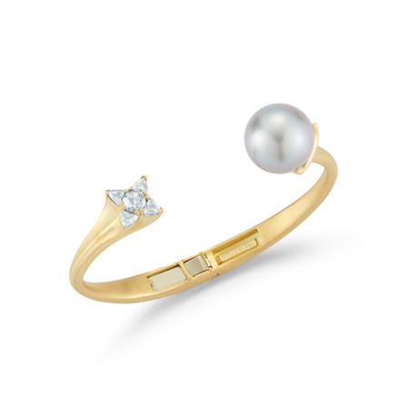 18k Yellow Gold Bangle with Diamonds (1.89 tcw) and Pearl