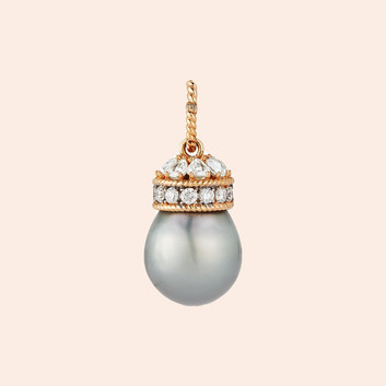 18k Rose Gold Crown Cap with rose cut and brilliants Diamonds (2.32 tcw) on a One of a kind Tahitian Pearl